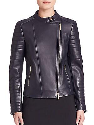 Sahena Leather Moto Jacket