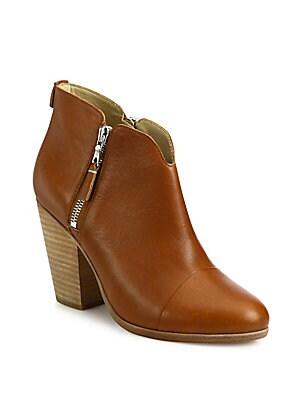 Margot Leather Zip Booties