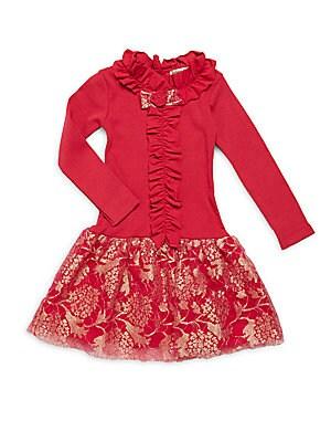 Little Girl's & Girl's Raspberry Ruffled Dress