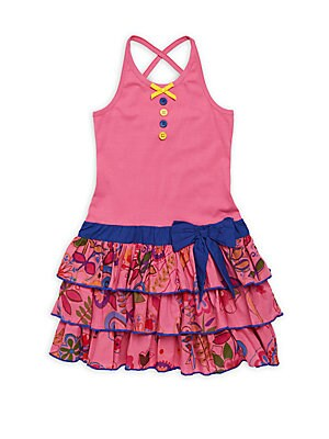 Little Girl's & Girl's Bubblegum Sunflower Knit Dress
