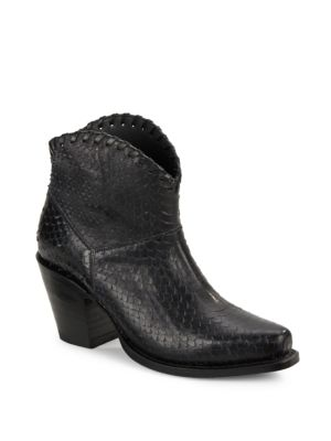 Kaira Textured Leather Ankle Boots