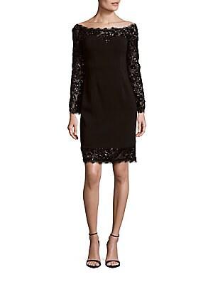 Embellished Eyelash-Trim Dress