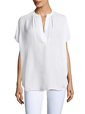 Silk Dolman-Sleeved Blouse