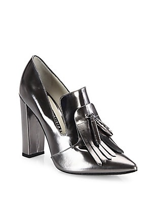 Cade Kilted Metallic Leather Point Toe Pumps