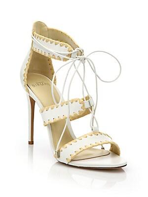 Bel Raffia-Trim Leather Lace-Up Sandals