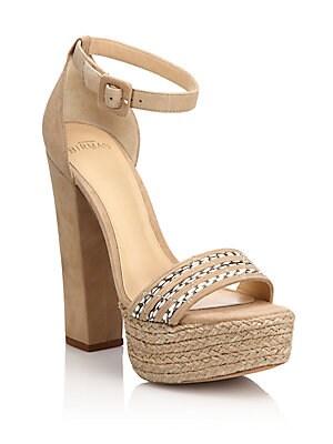 Woven-Detail Suede Espadrille Platform Sandals