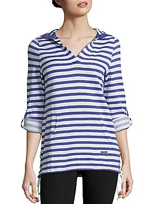 V-Neck Long-Sleeve Striped Hoodie
