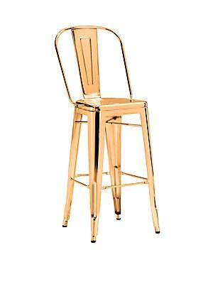 Elio Two-Piece Goldtone Steel Barstool Set
