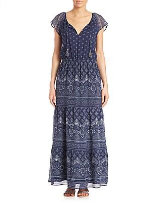 Manalia Silk Batik-Print Maxi Dress