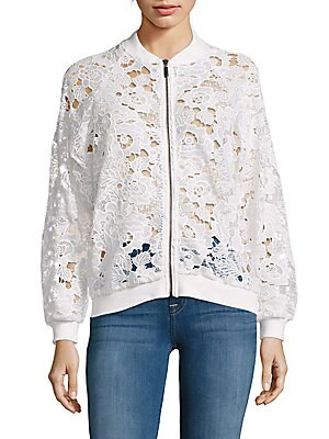 Long Raglan Sleeve Lace Bomber Jacket