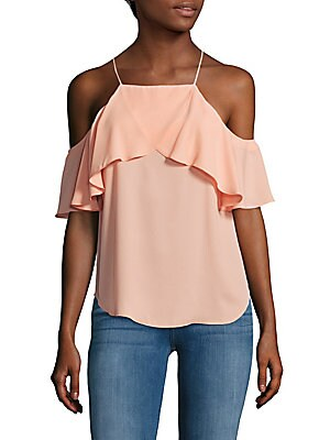 Solid Cold-Shoulder Ruffle-Trim Top