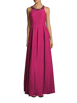Solid Textured Silk-Blend Gown