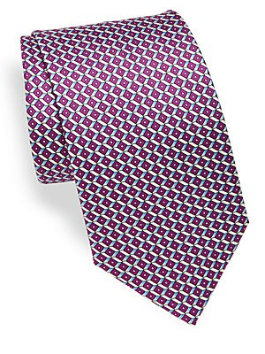 Abstract Geometric Print Silk Tie