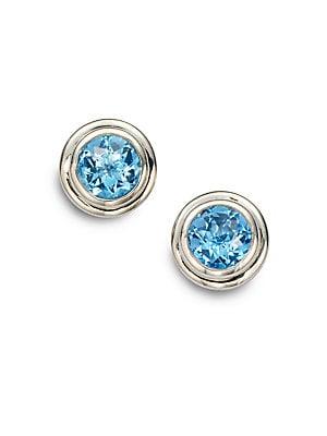 Bedeg Swiss Blue Topaz & Sterling Silver Stud Earrings