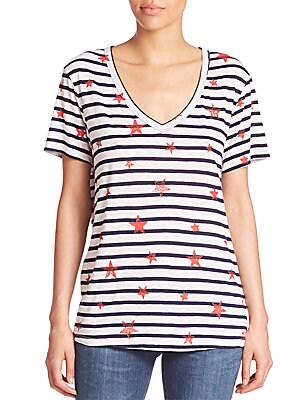 Striped Star-Print Tee