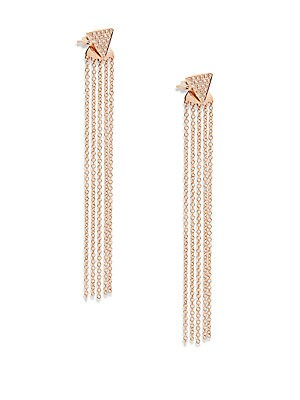 Diamond & 14K Rose Gold Fringed Earrings