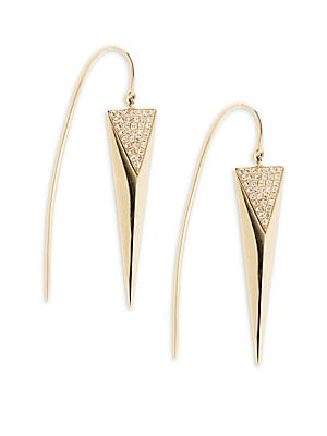 14K Yellow Gold & Diamond Spike Drop Earrings