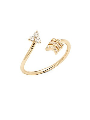 Click here for 14K Yellow Gold & White Topaz Arrow Wrap Ring prices