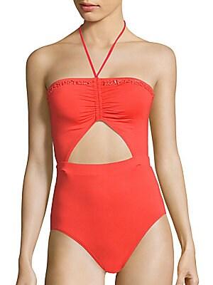Beaded Halterneck One-Piece Swimsuit