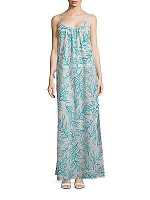 michael kors female sleeveless printed maxi dress