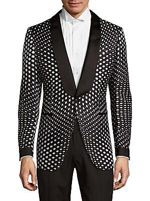 Geometric-Print Silk Jacket