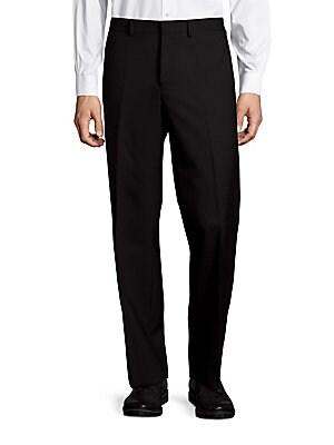 michael kors male solid wool stretch flatfront dress pants