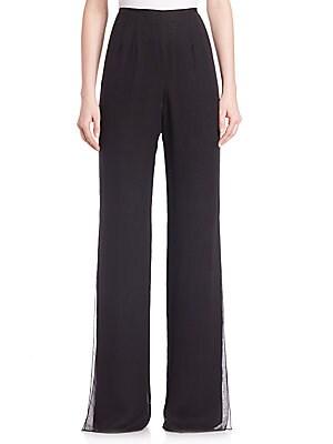 Silk Side-Slit Pants