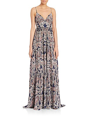 Honore Paisley-Print Silk Maxi Gown