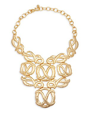 Satin Goldtone Pretzel Bib Necklace
