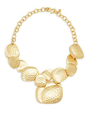 Hammered Satin Goldtone Bib Necklace