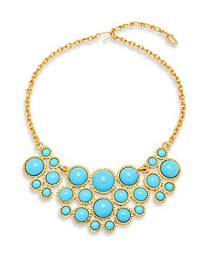 Turquoise & Goldtone Metal Bib Necklace