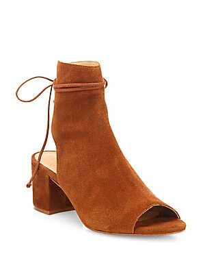 Binalia Cutout Suede Block-Heel Booties
