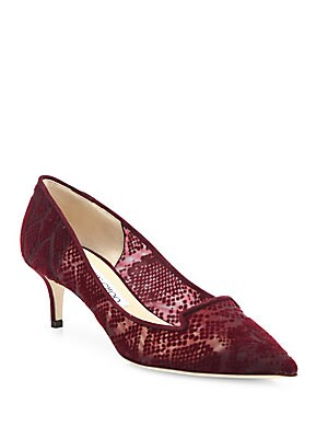 Allure 50 Snake-Pattern Suede & Mesh Point Toe Pumps