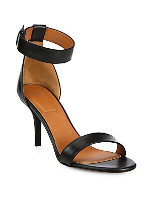 Infinity Line Leather Ankle-Strap Sandals