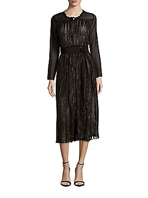 Pleated Roundneck Long-Sleeve Dress