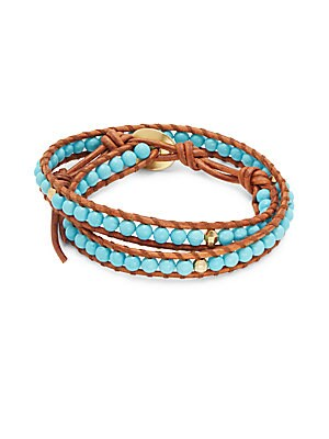 Turquoise 18K Gold-Plated Sterling Silver Leather Bracelet