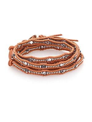 Crystal & Leather Multi-Row Beaded Wrap Bracelet