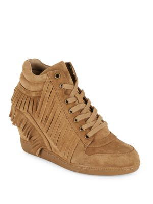 Beatnik Russet Fringed Wedge Sneakers