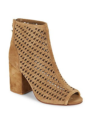 Flash Perforated Peep-Toe Suede Ankle Boots