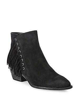 Lenny Russet Fringe-Trim Ankle Boots