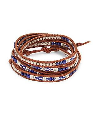 Lapis Sterling Silver & Leather Bracelet