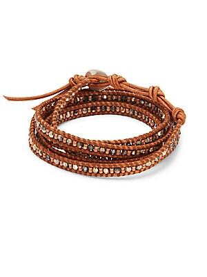 Crystal, Sterling Silver & Leather Bracelet