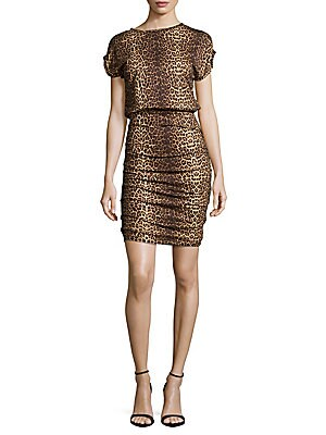 Animal-Print Short-Sleeve Dress