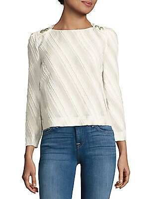 Textured Button-Back Top