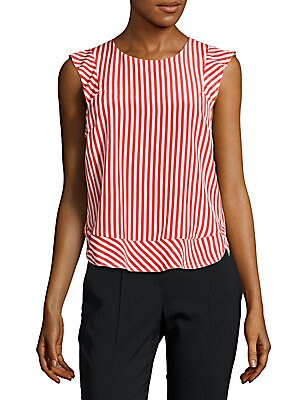 Sleeveless Striped Silk Top