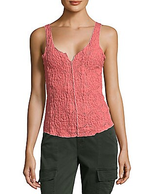 Crinkled Floral Lace Cami