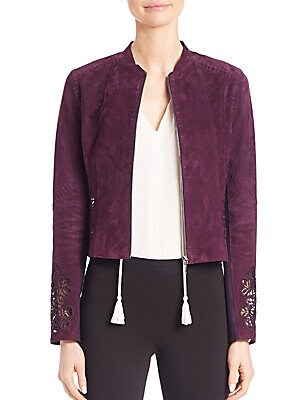 Zahara Floral Lace Suede Jacket