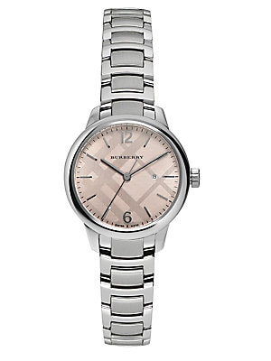 Stainless Steel Check Etched Bracelet Watch