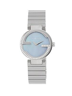 gucci ya133 interlocking diamond studded watch
