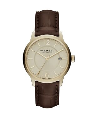 Gold  Brown Alligator Leather-Strap Watch Burberry
